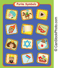 Purim Symbols - Cute Purim holiday symbols. Eps10