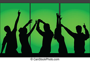 Silhouettes of dancing