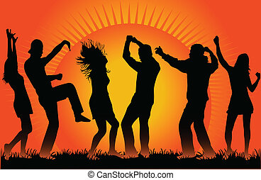 People dancing on sunset-vector illustration