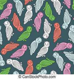 Colorful Owls Endless Seamless Patt