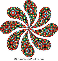 Abstract flower with traditional pattern