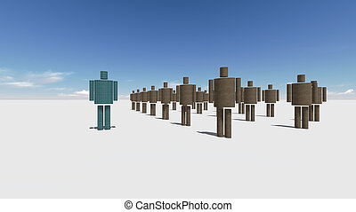 Standing Out From The Crowd made in 3d software