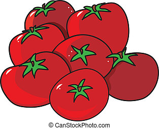 Tomatoes - A group of bright red tomatoes on a white...