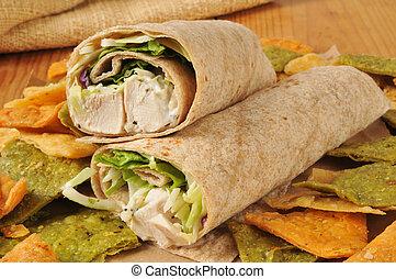 Chicken wrap sandwich on veggie tortilla chips