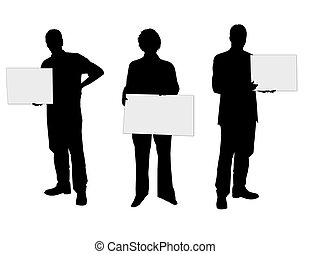 people silhouettes with blank placard