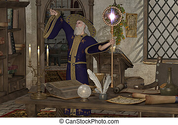 Magic Sorcerer - A wizard in his library casts a spell with...