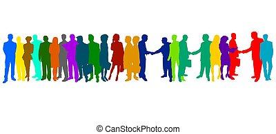 silhuetas, colorido, negócio, pessoas