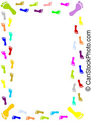 Foot prints border - Colourful foot prints border - vector...