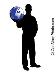 worldwide business man silhouette