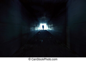 The man who quickly through the tunnel toward the light - A...