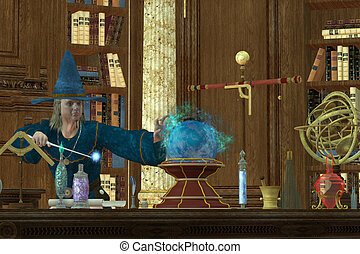 Sorcerer Magician - A magician casts a spell with his wand...