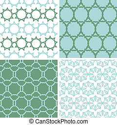 Four abstract moss green motives seamless patterns set -...