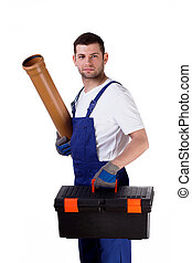 Man with toolbox and gutter - Young man holding toolbox and...