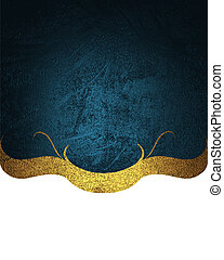 Blue plate with gold and pattern on white background Design...
