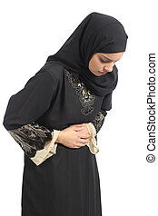 Arab saudi emirates woman with belly ache isolated on a...