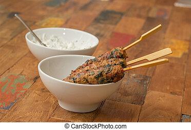 Turkish adana kebab with coriander - Spicy Turkish adana...