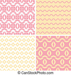 Four tribal pink and yellow abstract geometric patterns...