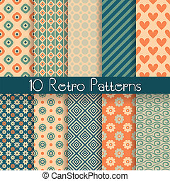 Retro abstract vector seamless patterns - 10 Retro abstract...