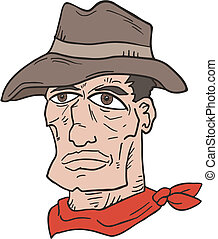 Western man face draw - Creative draw of western man