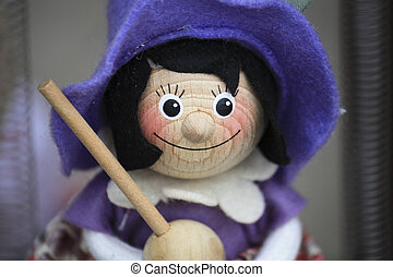 Witch puppet for sale, Budapest - Witch puppet with purple...