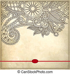 Ornamental floral pattern with place for your text, on grunge background