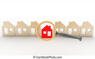 row of houses - Magnifying glass selects or inspects a home...