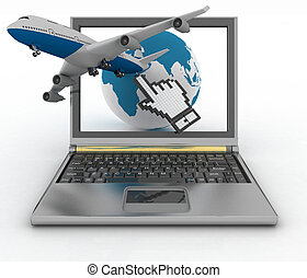 Hand cursor, earth globe and plane - Hand cursor, earth...