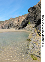 Chapel Porth Beach - Chapel Porth beach and cliffs at low...