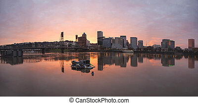 Sunset Over Willamette River in Portland Oregon Downtown...