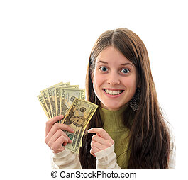 Woman with Money - A Young Brunette Woman with Money in her...