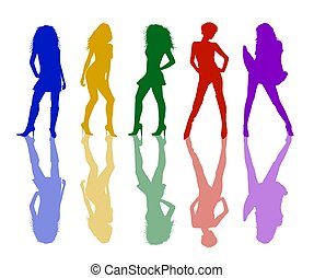 Female silhouettes in colors