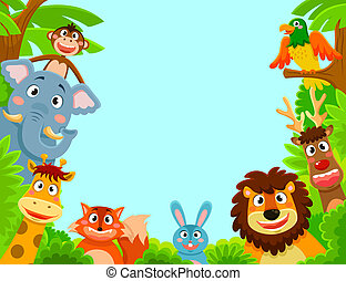 animals frame - happy jungle animals creating a framed...