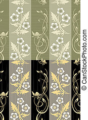 Seamless flower wall paper pattern - Scratched floral wall...