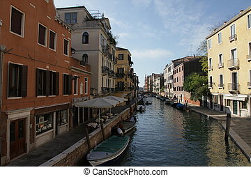 Scenic canal with gondola, Venice, Italy - Scenic canal with...