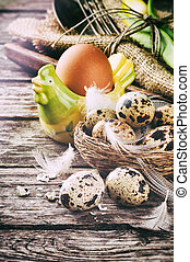Rustic table setting for Easter holiday