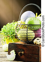 Easter setting with colorful decorative eggs