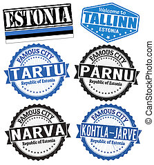 Estonia cities stamps - Set of grunge rubber stamps with...