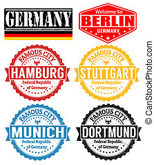 Germany cities stamps - Set of grunge rubber stamps with...