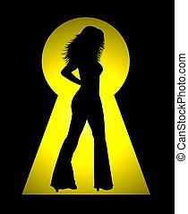 femininas, silueta, buraco fechadura