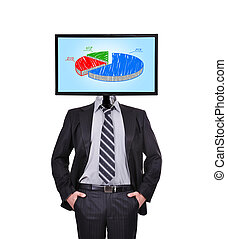 monitor with chart for a head - businessman and monitor with...