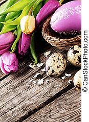 Easter setting in purple tone