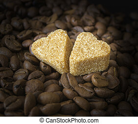Coffee Beans, Pots, Cinnamon on Dark Background