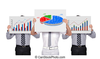 business graph - businesspeople holding placard with...