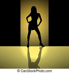 female silhouette background gold