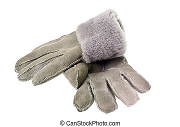 Womens winter fur gloves on a white background