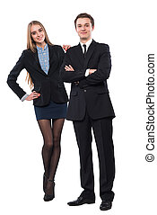 Young smiling business woman and business man
