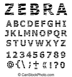 ZEBRA alphabet Hand drawn Vector Font