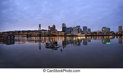 Portland Oregon Downtown Waterfront at Dusk - Portland...