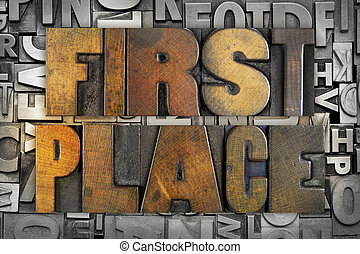 First Place - The words FIRST PLACE written in vintage...