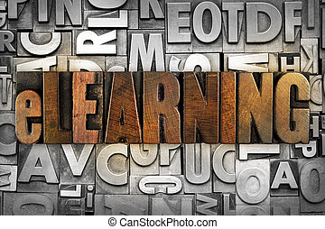 eLearning - The word eLEARNING written in vintage...